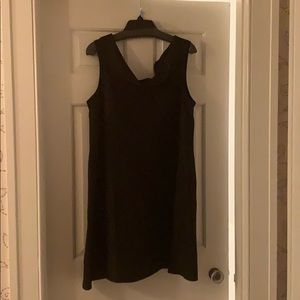 Black linen cowl neck dress